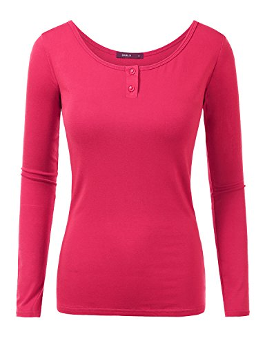 Doublju Women Stylish Crew Neck Long Sleeve Big Size Top FUCHSIA,XL