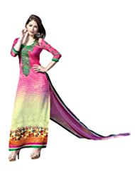 Women's Pink & Cream Embroidered Georgette Semi Stitched Salwar Suit