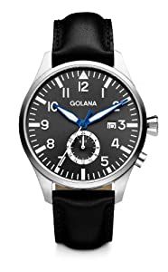 Golana Aero Gmt Men's Quartz Watch with Grey Dial Analogue Display and Black Leather Strap AE500-2