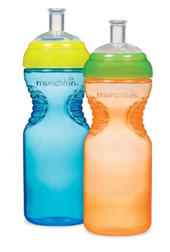 Munchkin BPA Free Mighty Grip Sports Bottle 2 Pack, 10 oz,Colors Vary (Discontinued by Manufacturer)