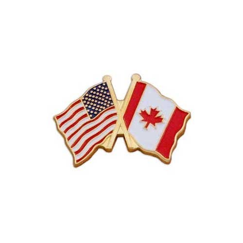 USA Flag - Left - and Canada Flag - Right - Lapel Pin