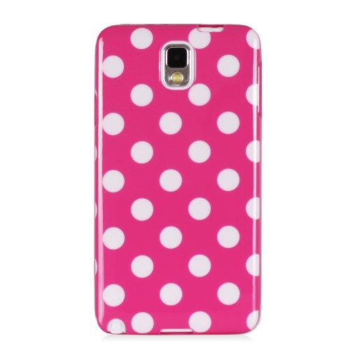 Mansion Premium Soft Flexible Polka Dot Rubber Skin TPU Case Gel Cover for Samsung Galaxy Note 3 N9000 / N9005 (Hot Pink, Galaxy Note 3)