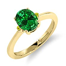buy 2.13 Ct Oval Green Simulated Emerald Canary Diamond 14K Yellow Gold Ring
