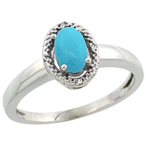 10K White Gold Natural Diamond Halo Sleeping Beauty Turquoise Ring Oval 6X4 mm, 3/8 inch wide, size 5.5