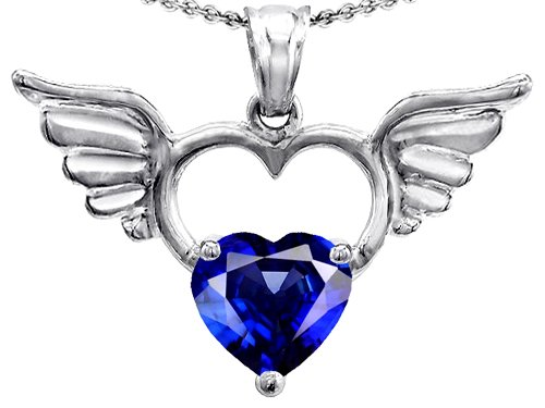 Original Star K(tm) Wings Of Love Birthstone Pendant with 8mm Heart Shape Created Sapphire in .925 Sterling Silver