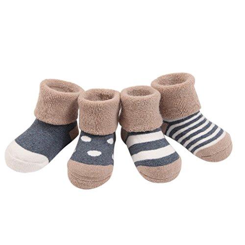 FEOYA- 0-36 Monate Babysocken Dick Warm Babysöckchen Herbst Winter Kindersocken Rutschfest 4 Paar Socken Set mit verschiedenen Mustern - Grau -S