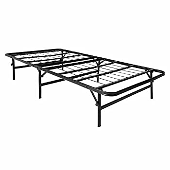 LUCID Foldable Metal Platform Bed Frame and Mattress Foundation - Twin Size