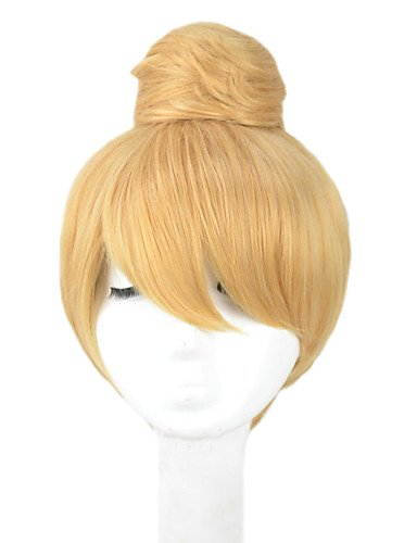 Wigs have an attractive convenience fashion Womens Princess Tinker Bell Cute Girl Bun Short Blonde Updo Halloween Party Costume Cosplay (Cute Halloween Costumes Tumblr)