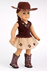 Cowgirl - 4 piece outfit includes cowgirl hat, skirt, top and cowgirl boots - American Girl Doll Clothes