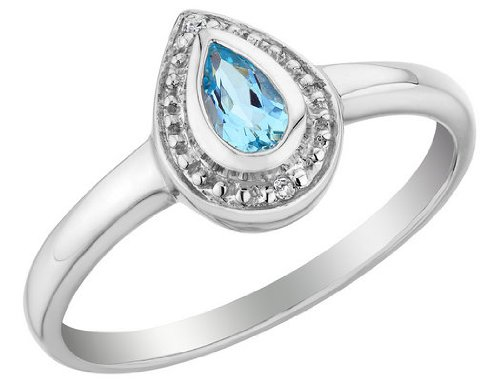 Blue Topaz Ring with Diamonds 1/4 Carat (ctw) in Sterling Silver, Size 6