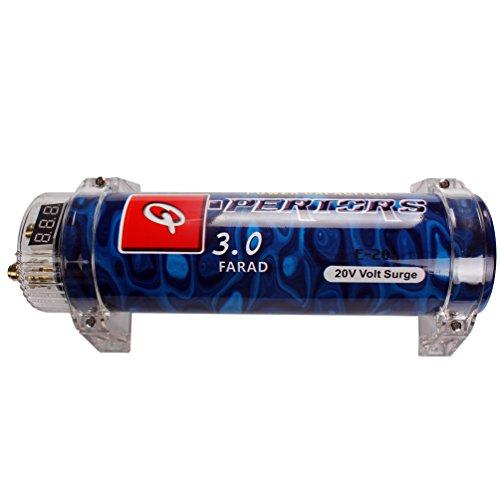 Digital Display Car Power Capacitor High Performance Car Audio Accessory Q-Pericrs 3.0 Farad 20V Volt Surge Electric Condenser With Digital Voltage Display