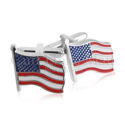 New - Waving American Flag Silver Cufflinks - CL-0084