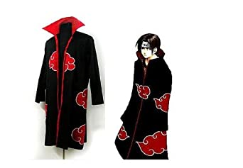Japanese Anime Costumes Cosplay Costumes Naruto Akatsuki Ninja Uniform Cloak (S-xxl) (M (156-162CM))
