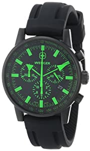 Wenger Men's 70891 Swiss Raid Commando Green-Accent Black Rubber Strap Watch