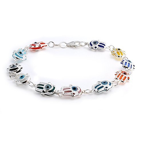 Bling Jewelry 925 Sterling Silver Multi Color Evil Eye Hamsa Hand Charm Bracelet 7.5in