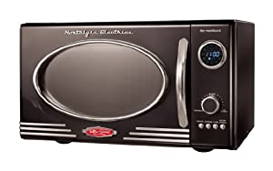 Nostalgia Electrics RMO400BLK Retro Series 0.9-Cubic Foot Microwave Oven, Black from Emgee