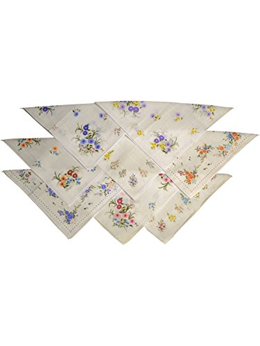 RJM 40 Womens Vintage Floral Handkerchiefs (5 Packs Of 8) Poly Cotton 0