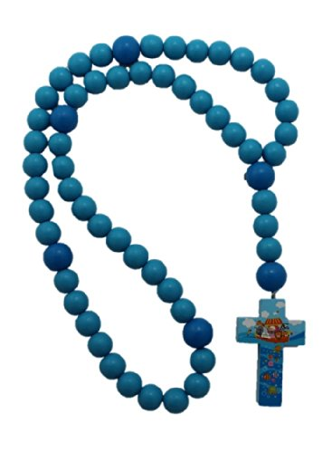 Blue 15mm Wood Bead First Rosary - Noah's Ark - 1