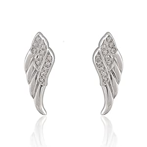 925 Sterling Silver Sparkling Cubic Zirconia CZ Angel Wing Stud Earrings