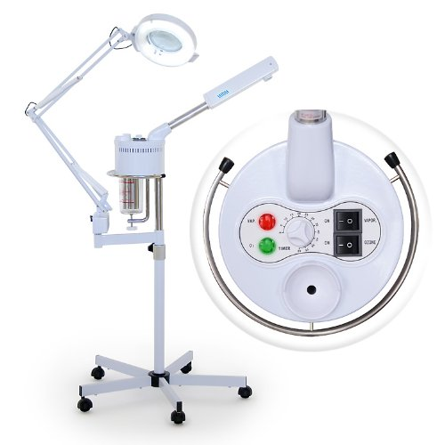 Professional Salon Multi-Function Ozone Facial Steamer w/ 5 Diopter Magnification Lamp