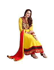 Shreevas Yellow & Red Faux Georgett Anarkali Suit Material With Embroidery Work | STL101
