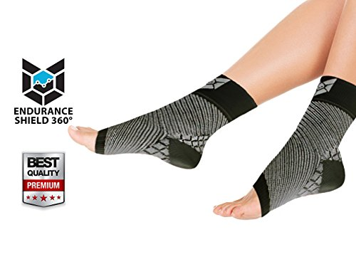 Compression Foot Sleeve (2 pcs) - Lightweight Foot Sleeves for Plantar Fasciitis, Heel Spurs, Arch Pain & Foot Swelling - Improves Poor Circulation - Sized For Men & Women - Endurance Shield 360® - 100% Money Back Guaranteed! (Feet Of Endurance compare prices)
