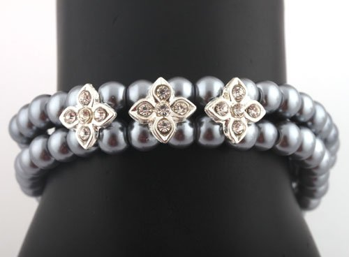 Ladies Gun Metal Pearl Beads with Iced Out Flowers Stretch Bracelet