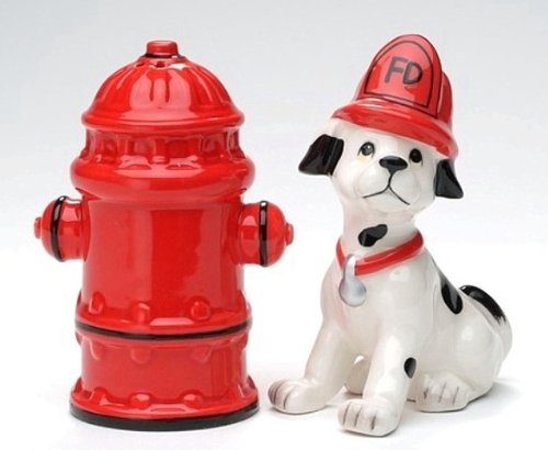 Appletree Design Who Let the Dawgs Out Firefighter Salt and Pepper Set, 3-3/4-Inch, 4-Inch