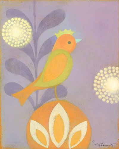 Oopsy daisy Bon Bon Bird Stretched Canvas Wall Art by Sally Bennett, 8 by 10-Inches