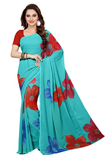 ISHIN Faux Georgette Blue Printed Women's Saree.  available at amazon for Rs.199