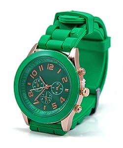 Neverland 15 Colors Unisex Geneva Silicone Jelly Gel Quartz Analog Sports Watch Dark green - Best Present for Kid Boy Girl