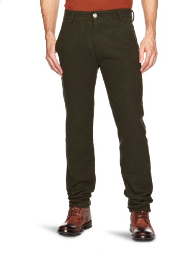 Trikki Moulin Wool Straight Men's Trousers Forest Green W32INxL32IN,Medium