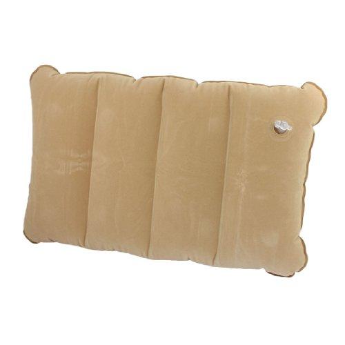 Inflatable Travel Pillow Head Waist Rest Air Support Blow Up Cushion Khaki