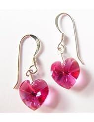 Fuschia Swarovski Crystal Heart Earrings