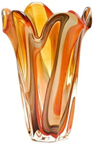 Ecco!Murano Hand Blown Large Vase Red, Amber