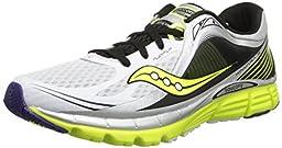 Saucony Men\'s Kinvara 5 Running Shoe,White/Black/Citron,9.5 M US
