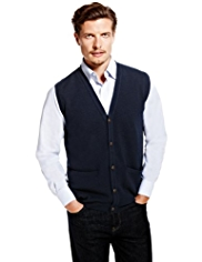 2in Longer Blue Harbour Extrafine Pure Lambswool 5 Button Waistcoat