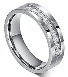 buy Womens Stainless Steel Rings Classic Comfort Fit Wedding Bands Silver 6Mm Cz Channel Set Size 9 - Adisaer
