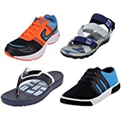 Earton COMBO Pack Of 4 Sports Shoes With Casual Shoes,Sandals Slipper