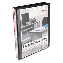Universal Round Ring Economy View Binder, 1 Capacity, Black, 12/Carton (20961CT)