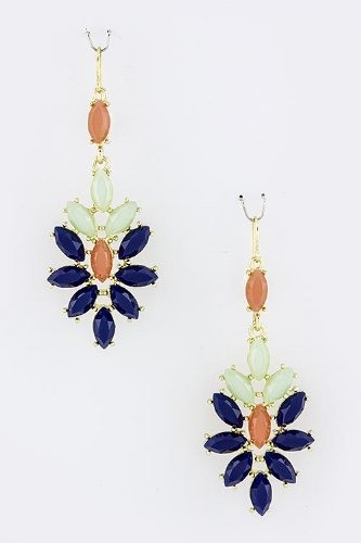 Contempo Couture Oval Floral Jewel Earrings (Royal Blue) front-906111