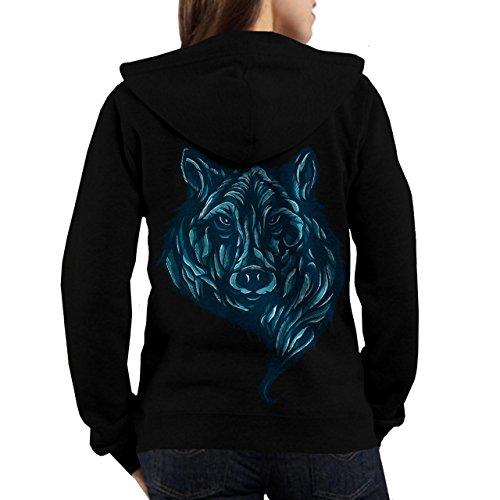 Wellcoda | Lone Grey Wild Wolf Womens NEW USA Animal Black Hoodie Back L