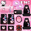 Hello Kitty Sanrio Hearts Design 12 Pieces Combo Set Front and Rear Rubber Floor Mats Seat Covers Steering Wheel Cover CD Visor Organizer Windshield Sunshade Side Window Sunshades and a Bonus 24 Pieces Capacity Durable CD Wallet