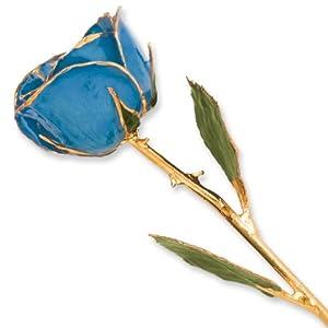 Long stem dipped 24k gold trim blue rose in for Blue long stem roses