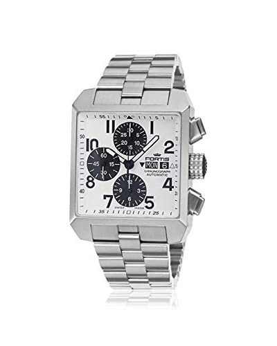 Fortis Mens 667.10.72 M Sqaure Chronograph Silver/White Stainless Steel Watch