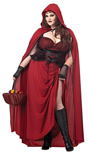 Fancy Dark Red Riding Hood Plus Size Adult Halloween Costume (Judge Robes Costume)