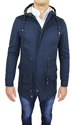 Giubbotto Parka uomo blu eskimo giaccone casual invernale con pelliccia Taglia S M L XL XXL (S, blu)