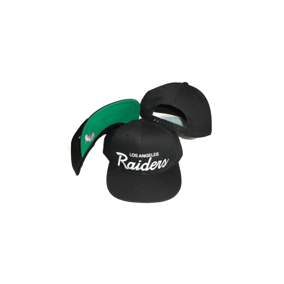 18043a85d Los Angeles Raiders White/Black Two Tone Plastic Snapback Adjustable  Plastic Snap Back Hat /