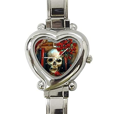 Limited Edition Nero Corvo Italian Charm Heart Watch Rose Raven Skull: Watches