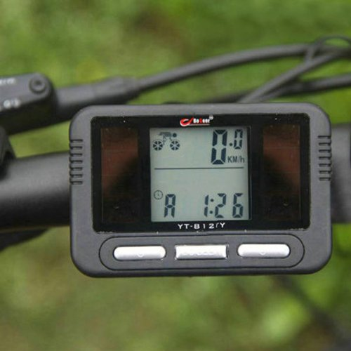 Solar Power Bike Bicycle LCD Computer Odometer Speedometer